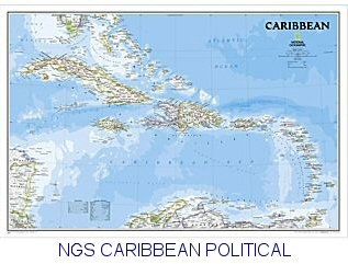 National Geographic Caribbean Political map