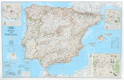 National Geographic Spain and Portugal Political map