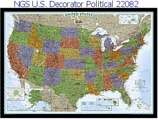 National Geographic U.S. Decorator Political Map