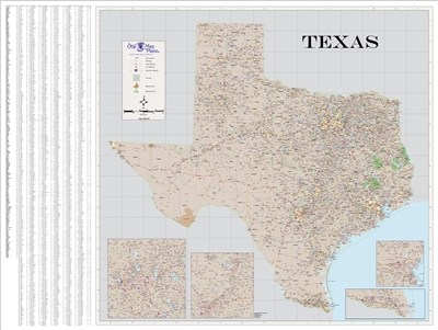 Texas Highway City County map
