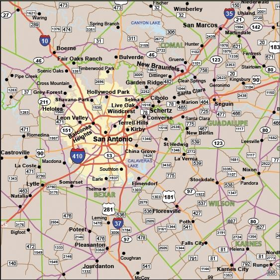 TEXAS Highway Map 52x39