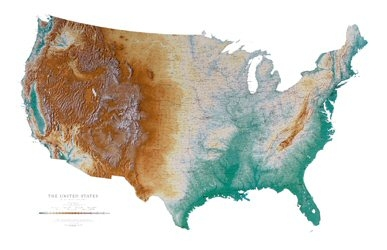 UNITED STATES SHADED RELIEF MAP