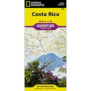 Costa Rica fold map national geographic adventure map