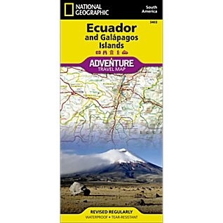 Equador Galapagos fold map national geographic adventure map
