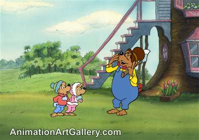 Production Cel with Matching Drawing of Papa Bear and Brother Bear from The Berenstain Bears' Christmas Tree