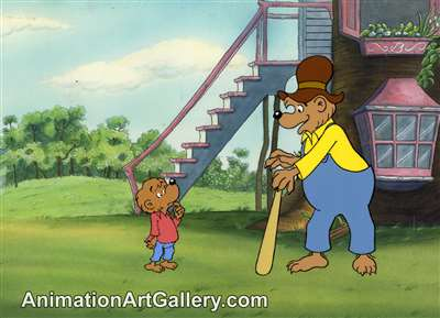 Production Cel with Matching Drawing of Brother Bear and Papa Bear from The Berenstain Bears Play Ball