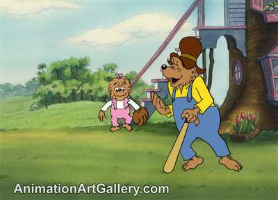 Production Cel with Matching Drawing of Sister Bear and Papa Bear from The Berenstain Bears Play Ball