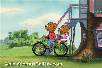 Production Cel of Brother Bear and Sister Bear from The Berenstain Bears' Comic Valentine