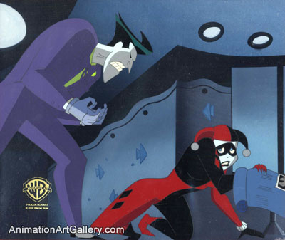 Original Production cel of Joker and Harley Quinn from Mad Love