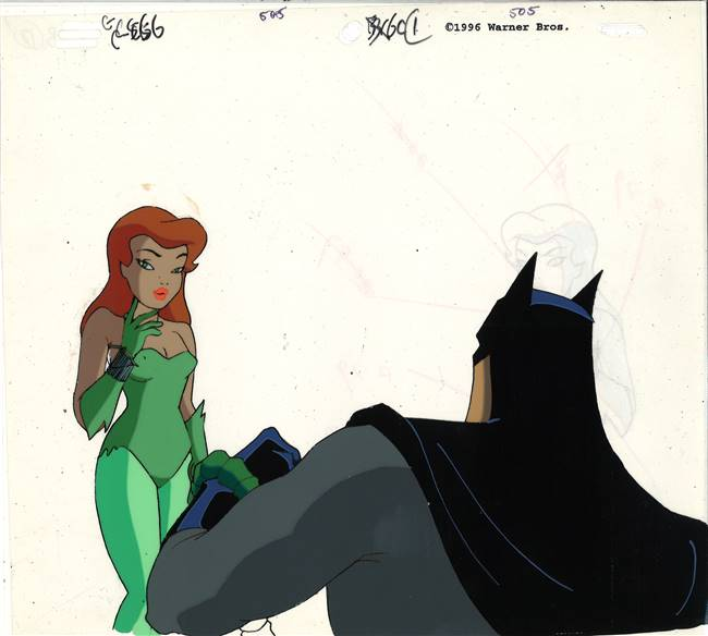 Original Production Cel of Batman and Poison Ivy from Batman the Animated Series