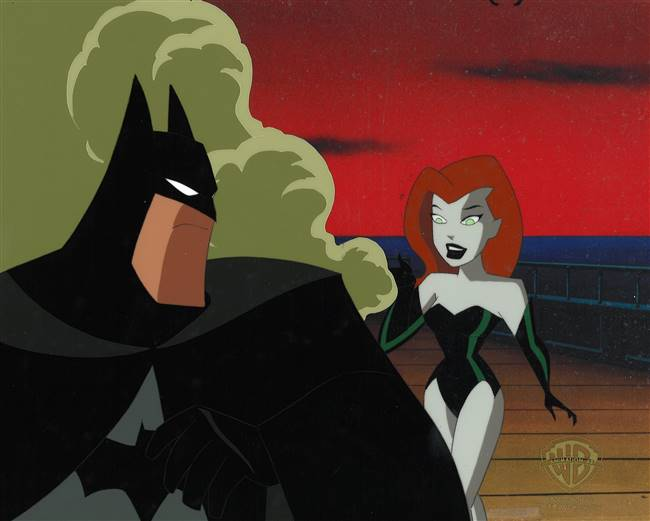Original Production Cel of Batman and Poison Ivy from New Batman Adventures