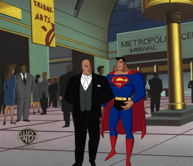 Original Production Cel of Superman and Lex Luthor from Superman: The Animated Series