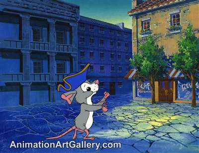 Production Cel of Tucker the mouse from Yankee Doodle Cricket