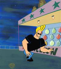 Original Master Background and Production Cel of Johnny Bravo from Johnny Bravo