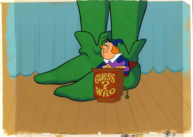 Original Production Cel and Production Background of a Game Show Host from a Green Giant Commercial