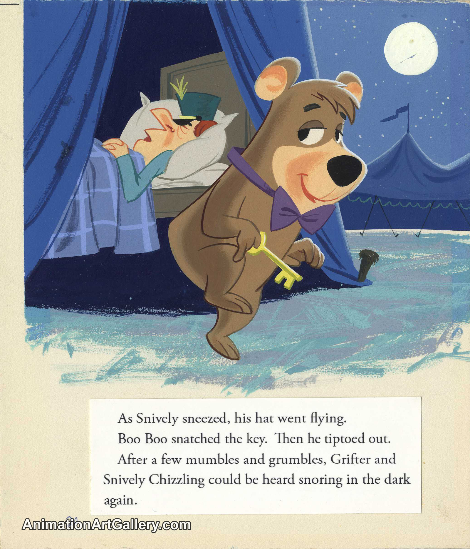 "Original Book Art Illustration of Boo Boo from the Golden Book ""Hey There, Yogi Bear"""
