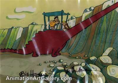 Production Cel of Fred Flintstone and Barney Rubble from Social Climber