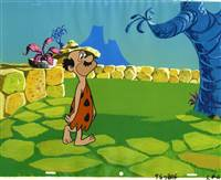 Original Production Cel of a man with a moustache from the Flintstones