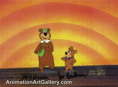 Production Cel of Yogi Bear and Boo Boo from Hanna-Barbera (c.1980s)