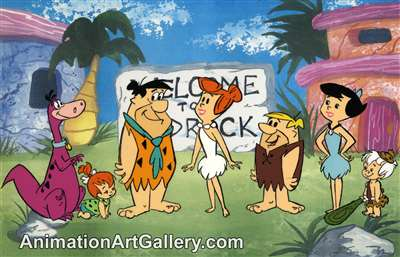 Color Model Cel of the Flintstones and the Rubbles from Hanna-Barbera (c.1970s)