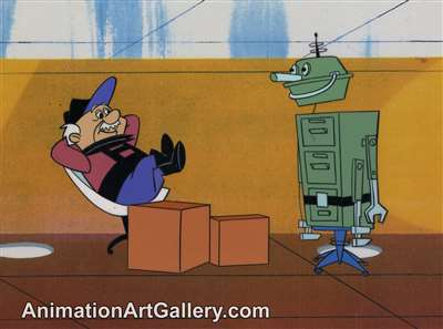 Production Cel of Henry Orbit and a robot from the Jetsons cartoon series