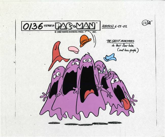 Original Production Model Cel of the Ghost Monsters from Pac-Man