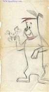 Production Drawing of Ruff and a horse  from Hanna-Barbera (c.1960s)