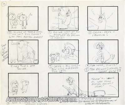 Storyboard of Pixie and Dixie from Hanna-Barbera (c.1960s)