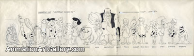 Model Sheet Drawing of the Flintstones and the Rubbles from The Flintstone Comedy Show