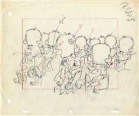 Original Production Drawing of Barney Rubble from the Flintstones