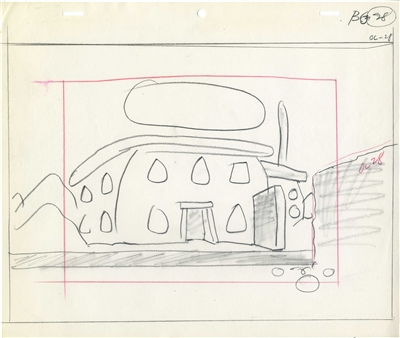 Original Layout Drawings from the Flintstones (1960s)