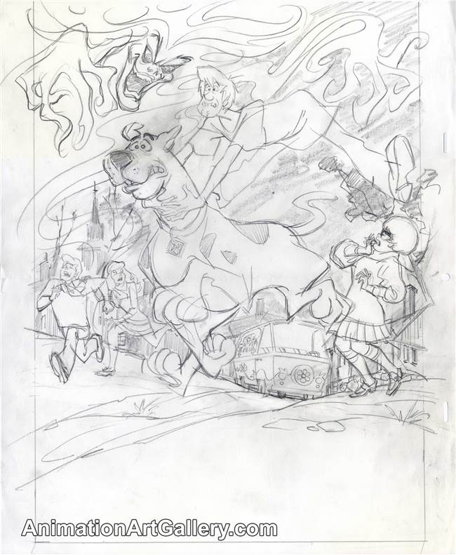 Publicity Drawing of Scooby Doo and Gang from Scooby Doo (1990s)