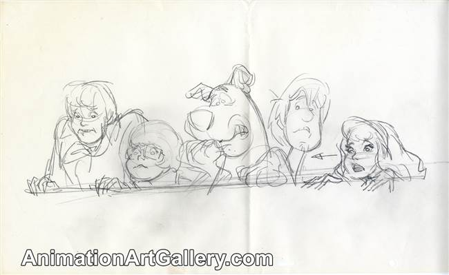 Publicity Drawing of the Scooby Doo Gang from Scooby Doo (1990s)