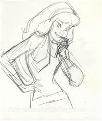 Original Publicity Drawing of Daphne from Scooby Doo