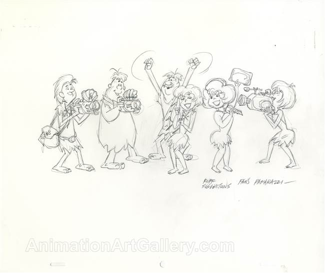 Original Publicity Drawing of Fans and Paparazzi from the Flintstones