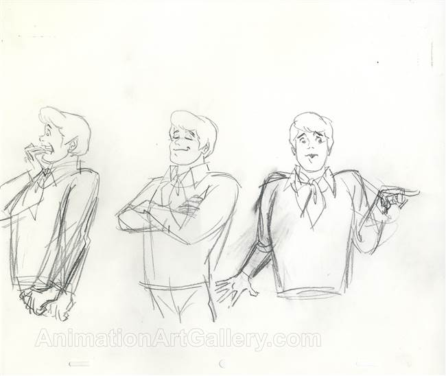 Original Publicity Drawing of Freddy from Scooby Doo