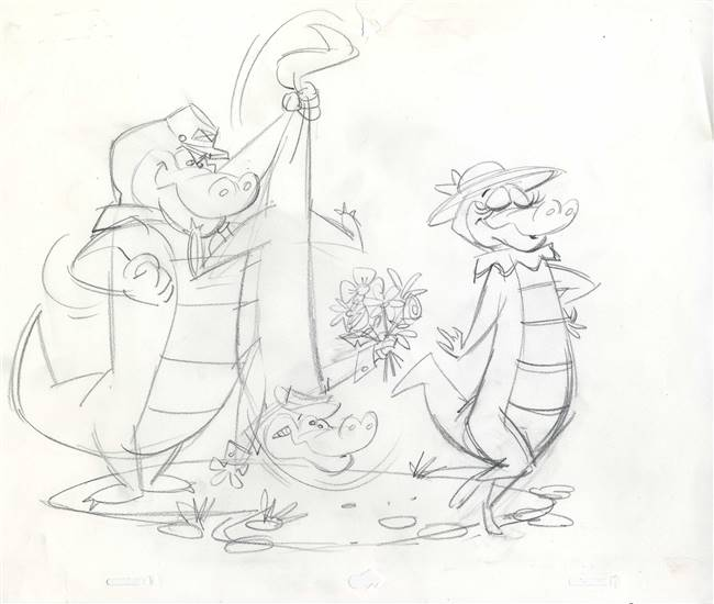Publicity Drawing of Wally Gator and Friends from Hanna Barbera