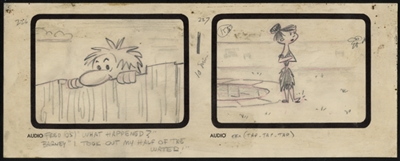 Original Production Storyboard Drawing of Barney and Betty Rubble from The Swimming Pool