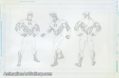 Model Sheet Drawing of Booster Gold from DC Comics