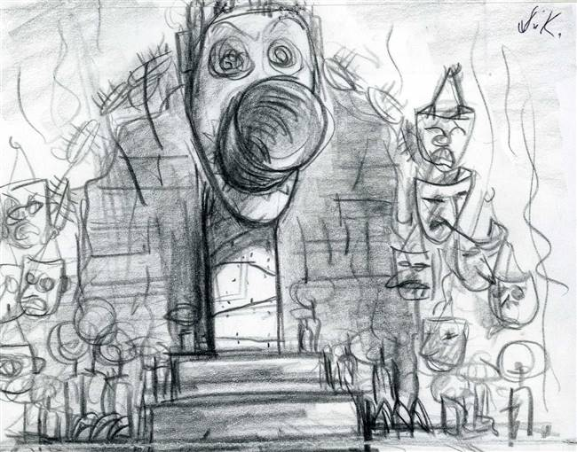 Original Storyboard of Oogie's Lair from Nightmare Before Christmas (1993)