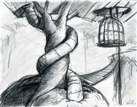Original Storyboard of Twisted tree and cage from Nightmare Before Christmas (1993)