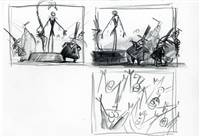 Original Storyboard of Jack and Mayor from Nightmare Before Christmas (1993)