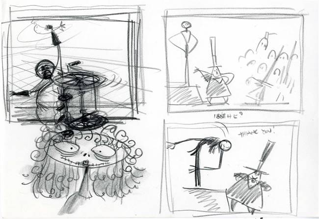 Original Storyboard of Jack Skellington and Dr. Finklestein from Nightmare Before Christmas (1993)