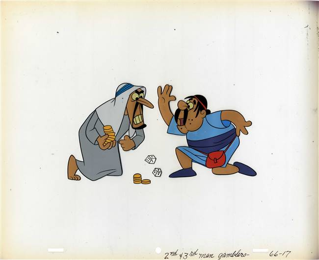 Original Production Cel and Matching Drawing of Two Men from Famous Adventures of Mr Magoo