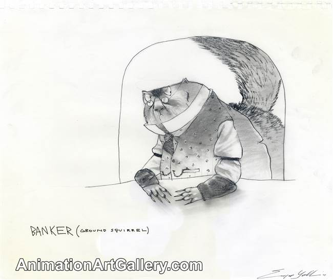 Character Drawing of a banker (ground squirrel) from Rango