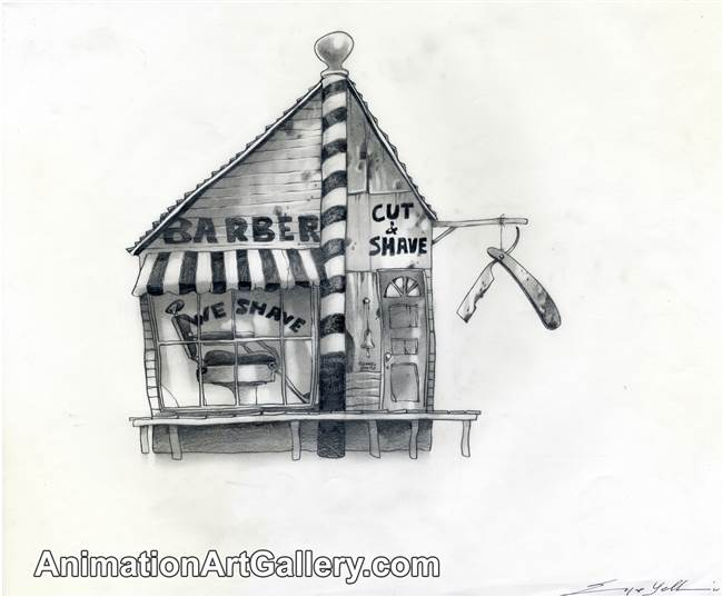 Concept Piece of a barber shop from Rango