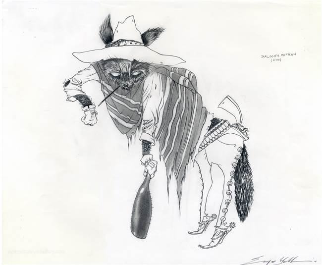 Character Production Drawing of a Fox and from Rango