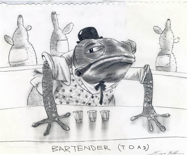 Character Production Drawing of Bartender Toad from Rango