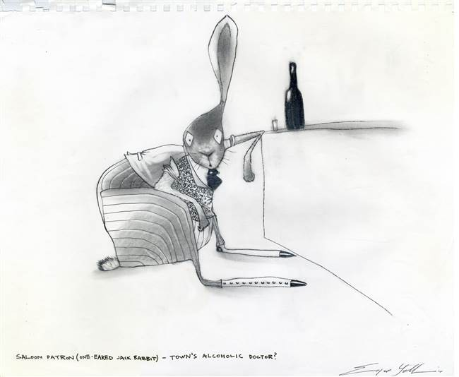Character Production Drawing of a Rabbit from Rango