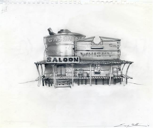 Concept Drawing of the Saloon from from Rango